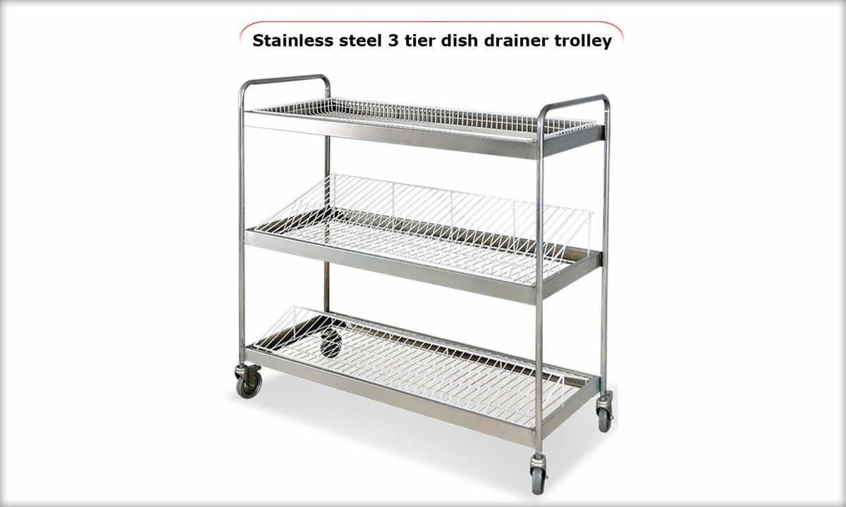 Stainless Steel 3 Tier Dish Drainer Trolley